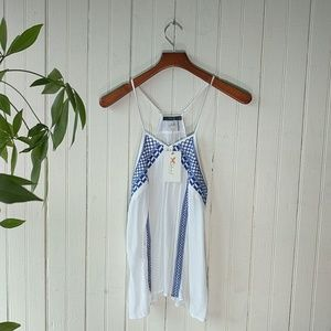 NWT THML white blue embroidered racer cami top M